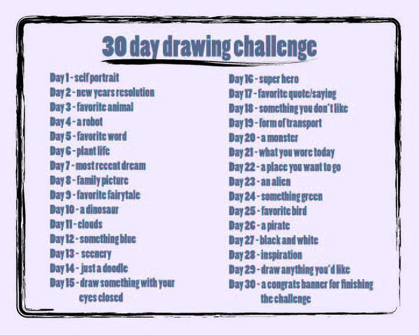 30 Days Of Drawing And A Happy New Year Picture Frame